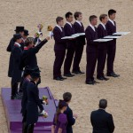 Team dressage podium